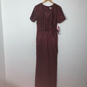 Burgundy Jumpsuit w/blue pinstripes -Short sleeve
